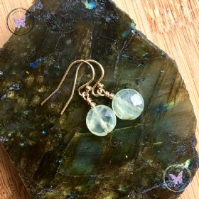 Prehnite Facet Coin Gold Earrings